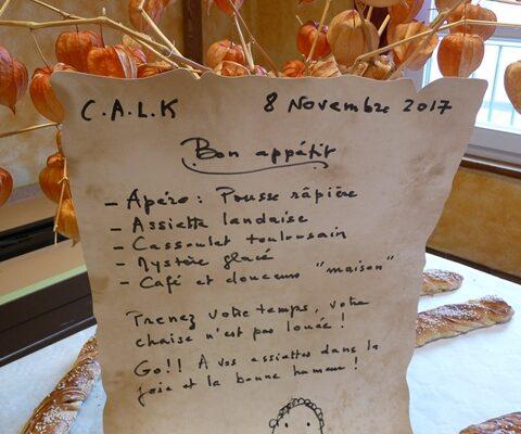 Repas de l'association Calk du 8 novembre 2017